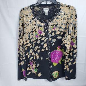 Chicos Sequin Silk Blend Cardigan Sweater Sz 3